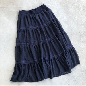 Chelsea & Theodore Navy Plus Size Lace Maxi Skirt